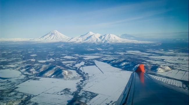 вид с самолета зимой